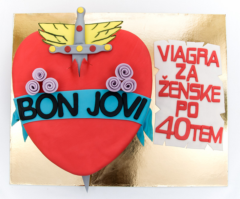 Bon Jovi fondant cake top close
