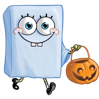 bob esponja disfrazado de fantasma