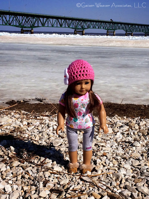 Mackinaw visit, cold pink ladybug and leggings outfit by Geiser-Weaver Associates, LLC