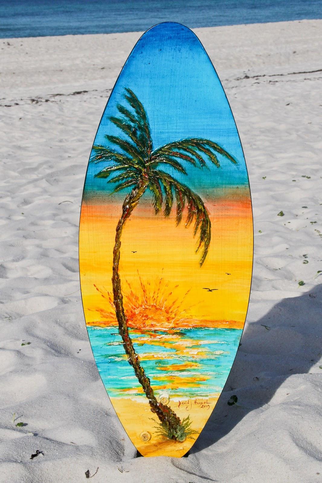 David J. Hansel the Artist: Hibiscus Flower End-Tables & Surf Board Art