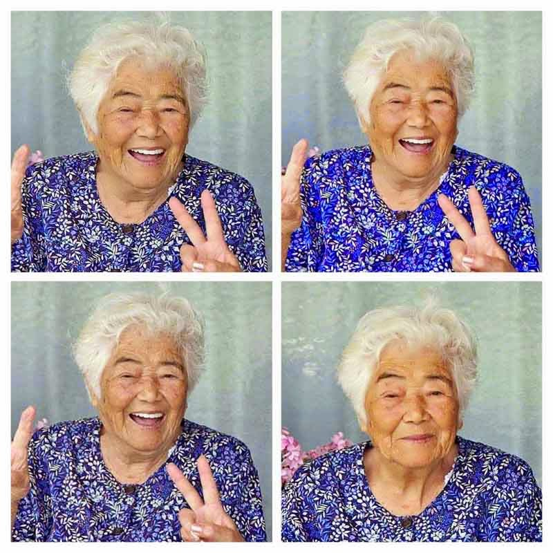 A smiling Mrs. Uto Yohena in 4 frames