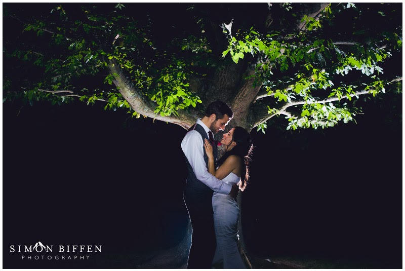Bride and groom night portrait at Sir Harold Hillier Gardens