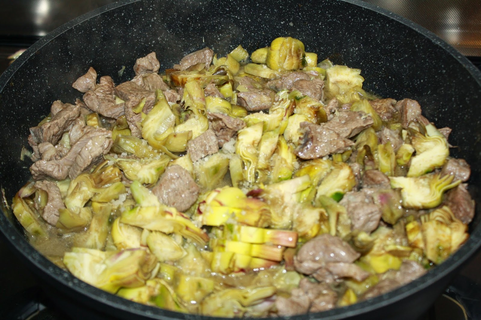 ricetta carne con carciofi