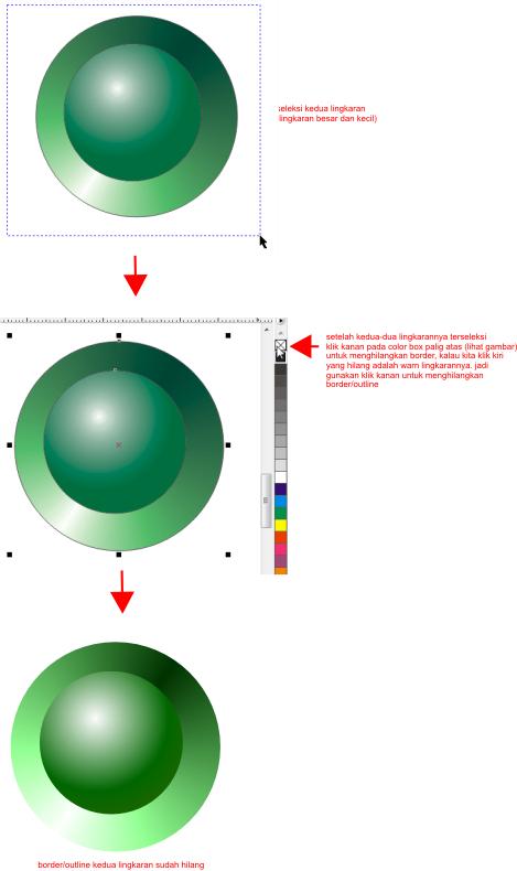 border pada kedua sisi lingkaran, kita hilangkan outline/border