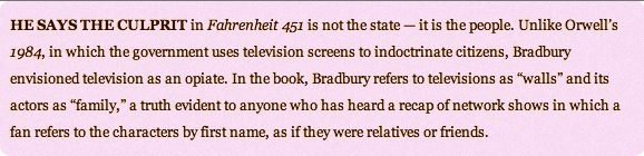 FAHRENHEIT 451 - Bradbury would blame the people of Boston