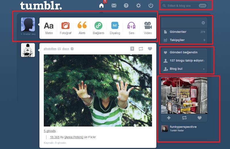 Tumblr Rehberi - Ana Ekran