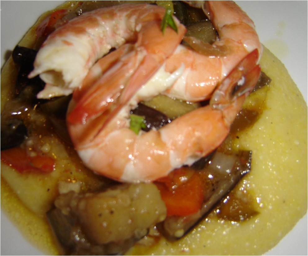 Honey From Rock: Lemon Shrimp with Polenta and La Vignarola