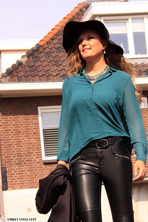 Street Style Leather Pants Green Top