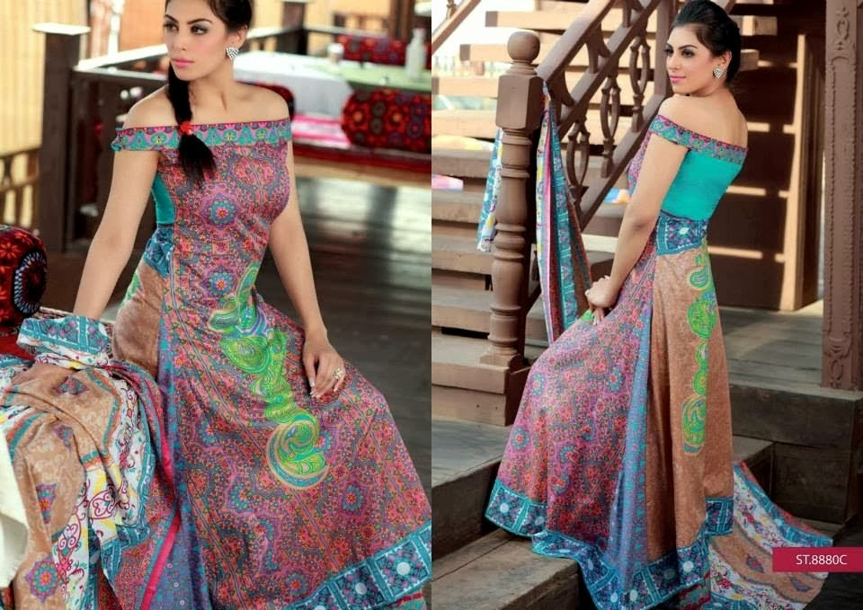 Western Style Printed Lawn Dresses