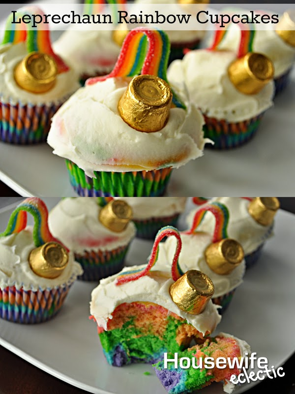 Housewife Eclecitc: Leprechaun Rainbow Cupcakes, the perfect St. Patrick's Day treat.