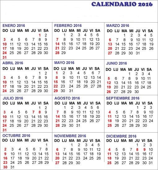 2016 Calendario para imprimir con vacaciones