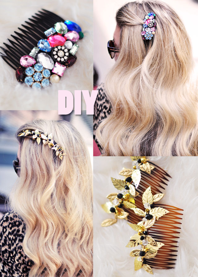 DIY Bejeweled Hair Combs // Pretty Brooches for your Hair ...