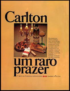 cigarros souza cruz; propaganda cigarros Carlton - 1977. propaganda anos 70; história decada de 70; reclame anos 70; propaganda cigarros anos 70; Brazil in the 70s; Oswaldo Hernandez;