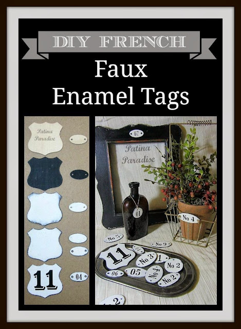 How to make DIY French faux enamel tags - Patina Paradise @ girlinthegarage.net