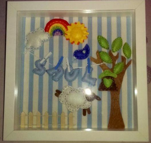 Cuadro artesanal fieltro y tela con nombre bebé