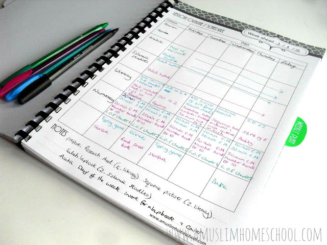 weekly lesson planner for the Home School Planner
