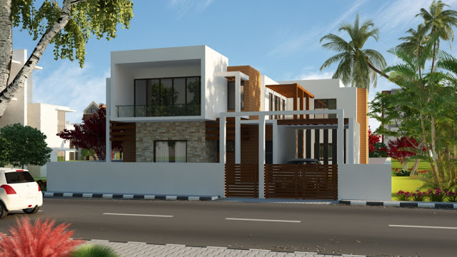 Modern homes front views terrace designs ideas. | Modern Home Designs