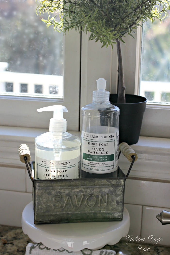 Williams Sonoma kitchen soap in Savon galvanized soap holder - www.goldenboysandme.com