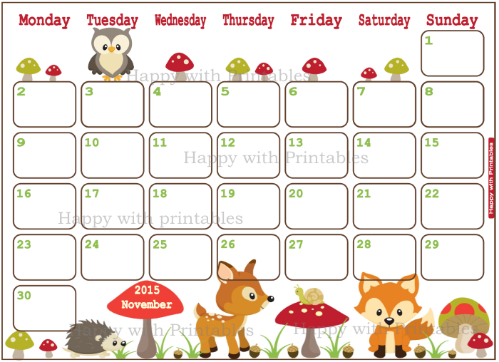 Happy With Printables Calendar November : Happywithprintables november planner woodland