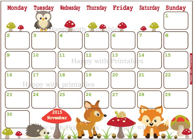 November planner, woodland planner, november 2015, cute planner, planner for kids