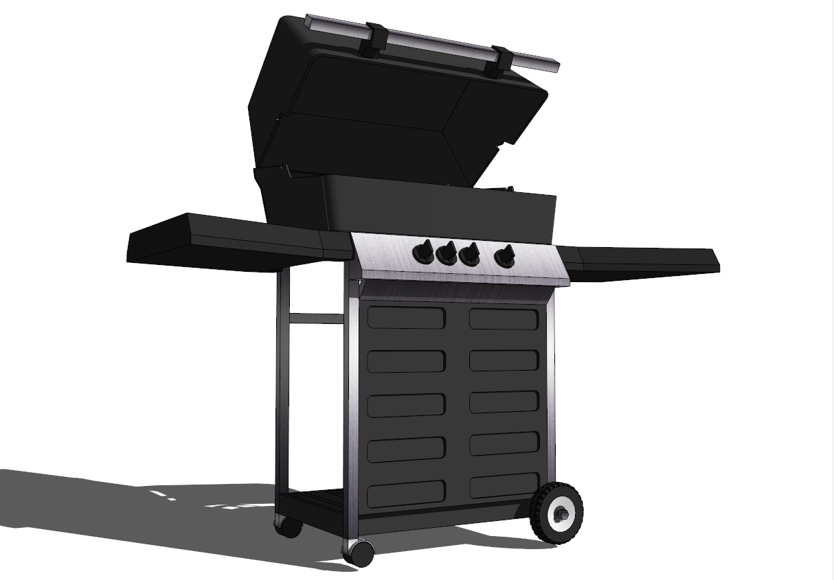 3d image of a gas grill from the program sketchup. Black Bedroom Furniture Sets. Home Design Ideas