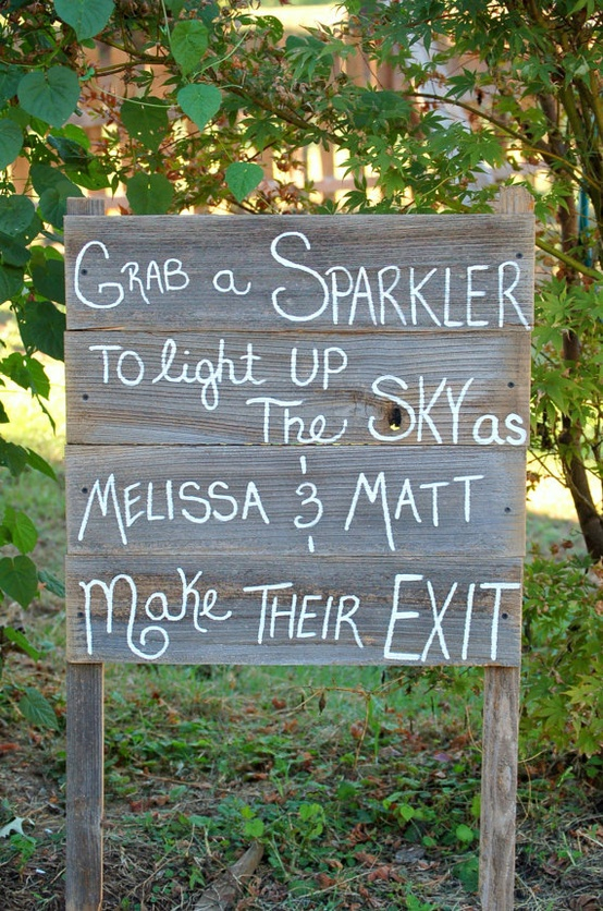 Wedding Sparklers Ideas and Inspiration - Sparkler Wedding Signs