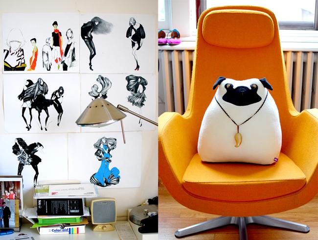 shoe designer's work and desk space