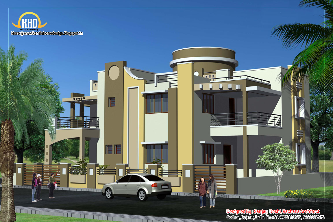 Duplex house plan and elevation 3122 sq ft kerala for Villa design plan india