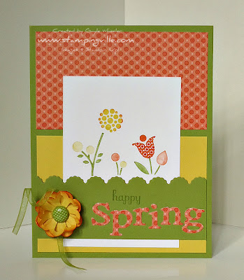 Handstamped Springtime Card Idea