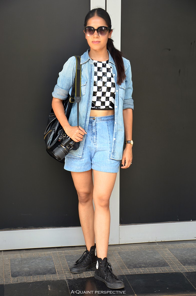 aquaintperspective.blogspot.com;Shelly Sarkar Full Look in high waist ed denim Shorts and sequinned crop top