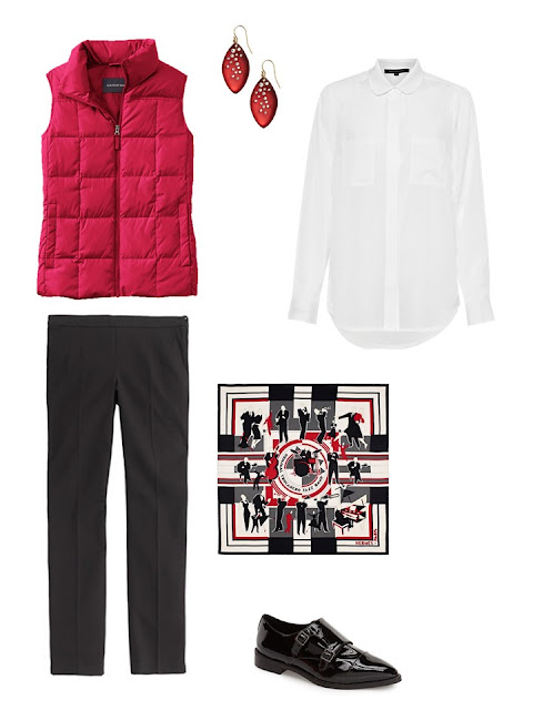outfit with a red down vest, white shirt and black pants