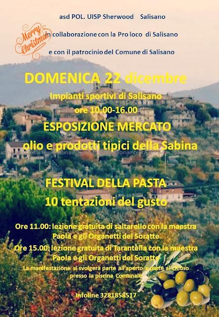 festival della pasta e prodotti della sabina - comune di salisano - domenica 22 dicembre 13