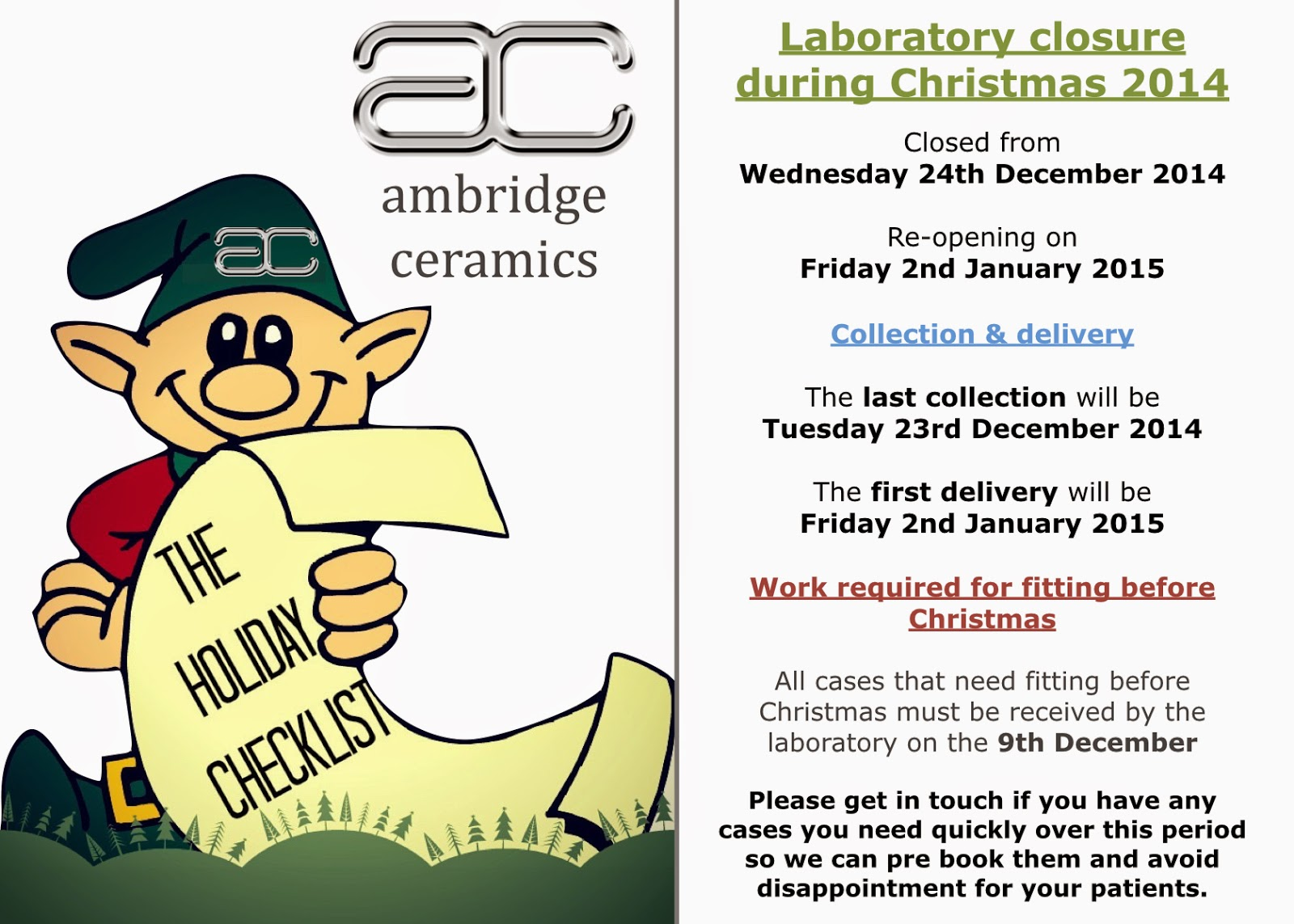 Ambridge Ceramics Christmas Closing 2014