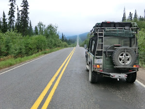 The Defender, alone on the road somewhere in northern North America