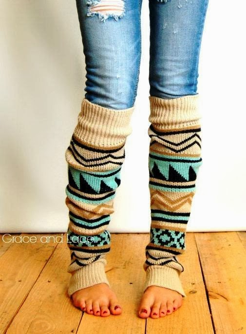 Winter aztec tribal print leg warmer trend