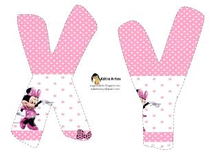 Lindo alfabeto de Minnie saludando, en rosa y blanco XY.