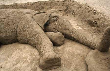 Elefant sandskulptur