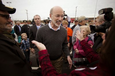 Incoming Pennsylvania Governor Tom Wolf (D) meets with well-wishers after he winning the gubernatorial election. (Credit: AP Photo / Matt Rourke) Click to Enlarge.