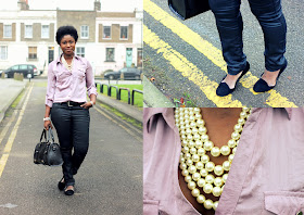 OOTD: Coated Trousers & Pearls
