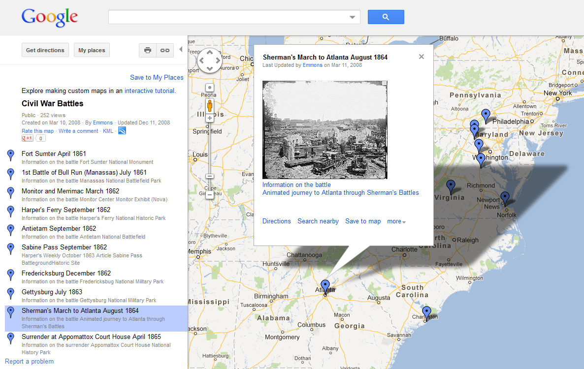 did you know your students can create custom annotated maps in google maps just go to google maps click on my places in the lefthand pane