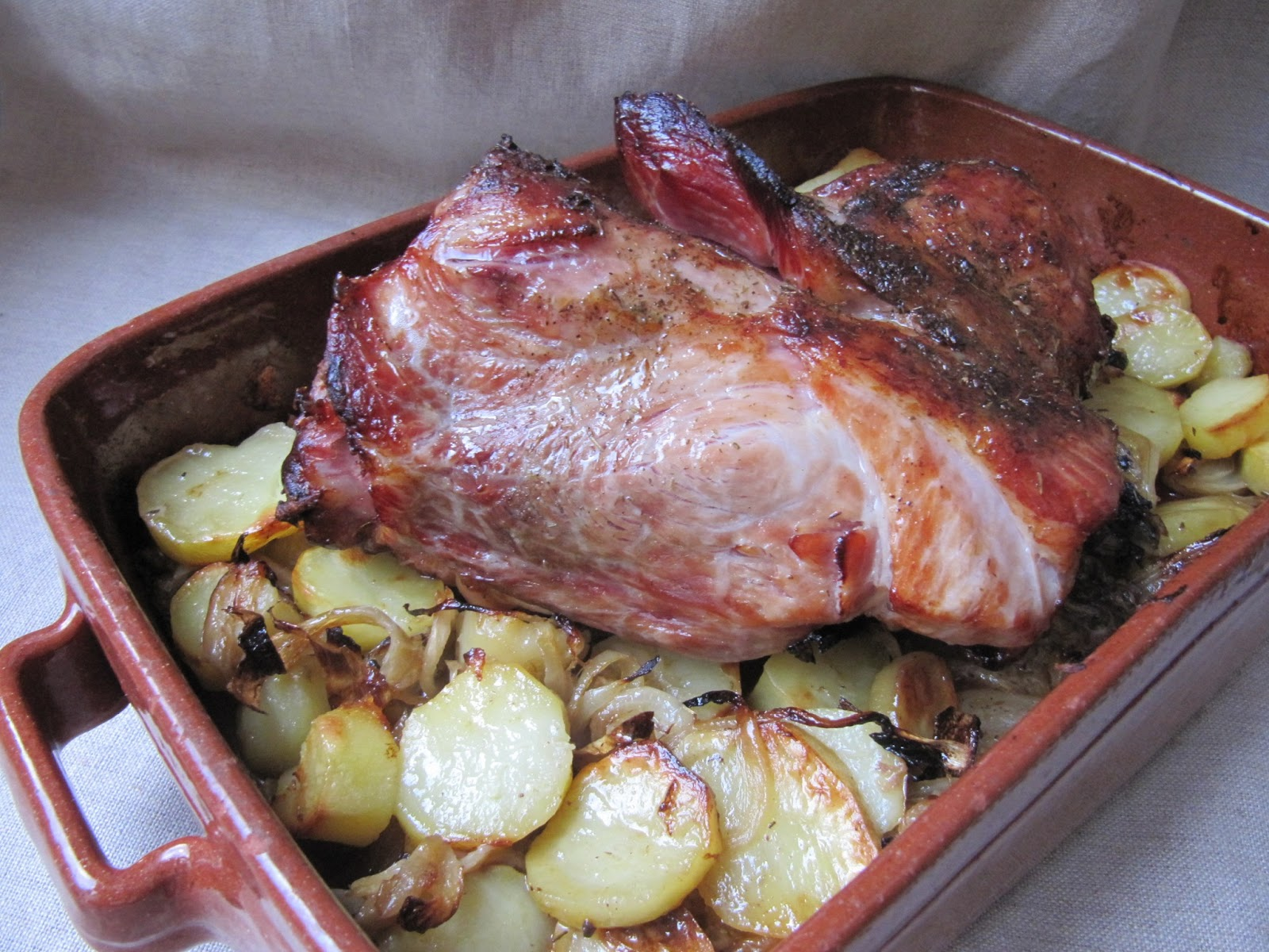 palette de porc demi sel rotie au four