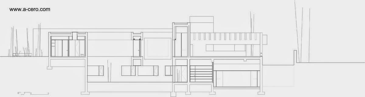 Plano de arquitectura mostrando un corte de la casa