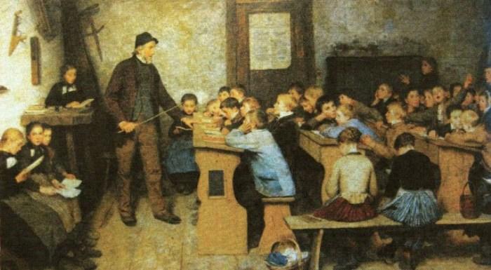 Escuela de pueblo en 1848 de Albert Anker (1896)