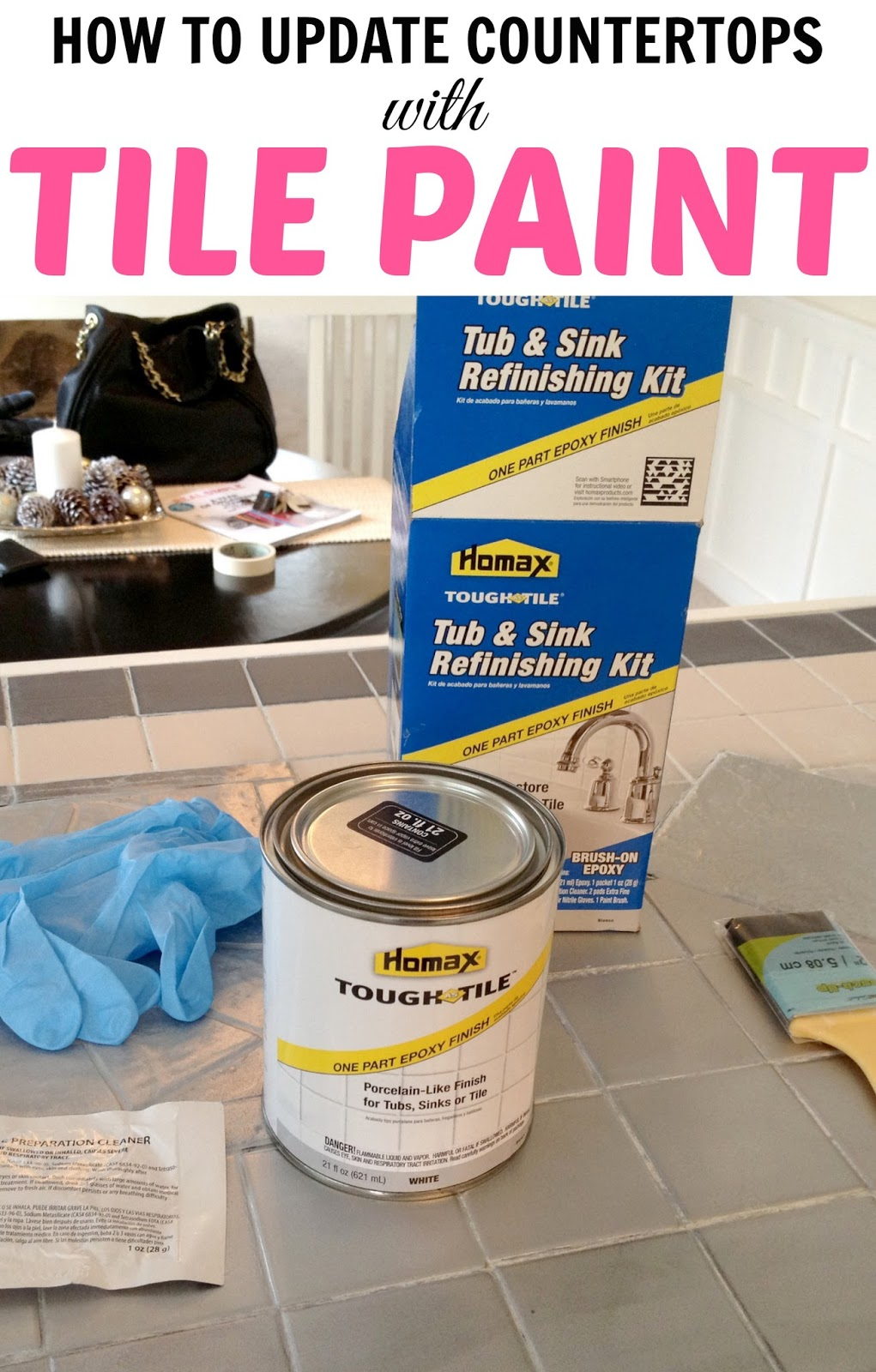Livelovediy how to paint tile countertops - Can i paint over bathroom tiles ...