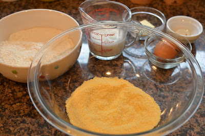 The batter starts with sifting the dry ingredients together: flour ...