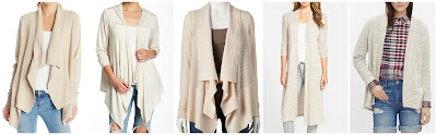 Leo & Nicole Missy Long Sleeve Drape Front Open Cardigan $10.40 (regular $48.00)  Bobeau Hooded Drape Cardigan $19.20 (regular $48.00)  Sonoma Linfe + Style Open-Work Flyaway Cardigan $20.00 (regular $40.00)  Bobeau Long Side Slip Open Front Cardigan $34.80 (regular $58.00)  Madewell Seastar Slub Cardigan Sweater $69.99 (regular $98.00)