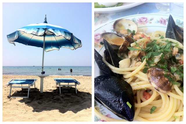 Our umbrella. And our lunch: spaghetti con frutti di mare.