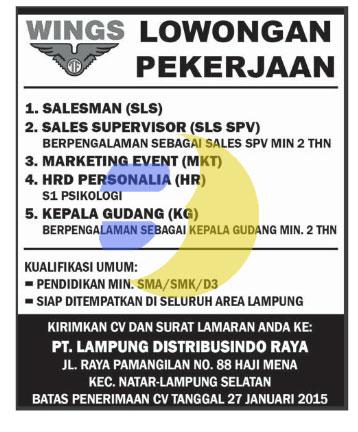 Lowongan Kerja Lampung, Minggu 18 Januari 2015 di Perusahaan ternama Lampung PT. Lampung Distribusindo Raya