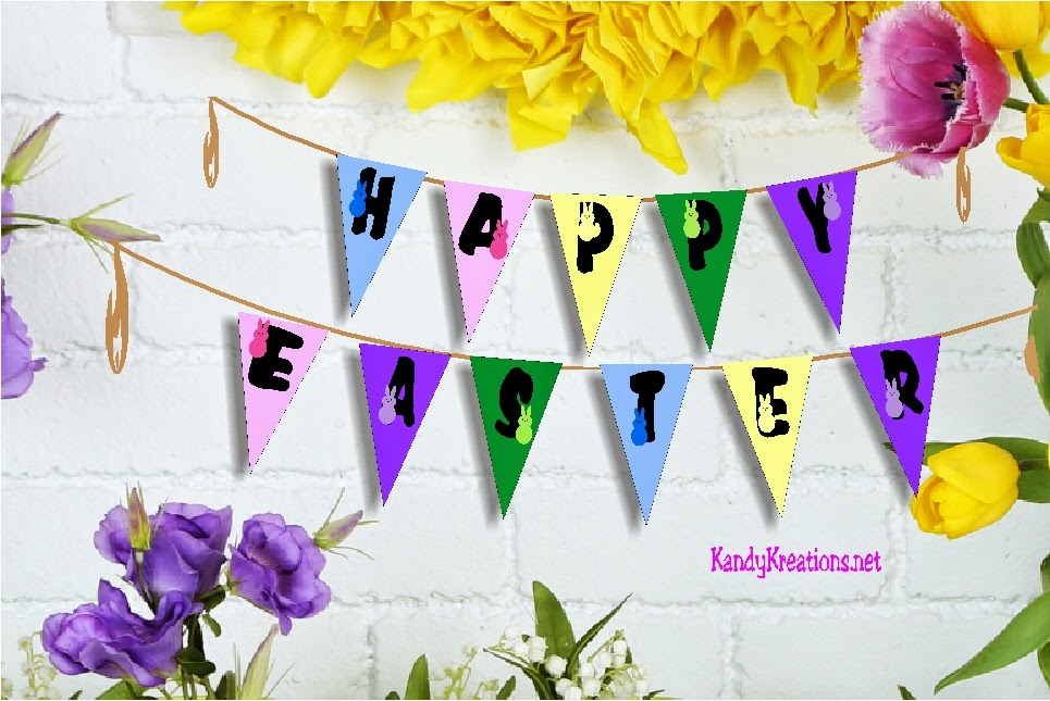 Celebrate something sweet with this fun Happy Easter Peeps pennant banner.  With 5 cute peeps adorning the yellow, blue, green, purple, and pink pennants, you'll never have too much sweetness.