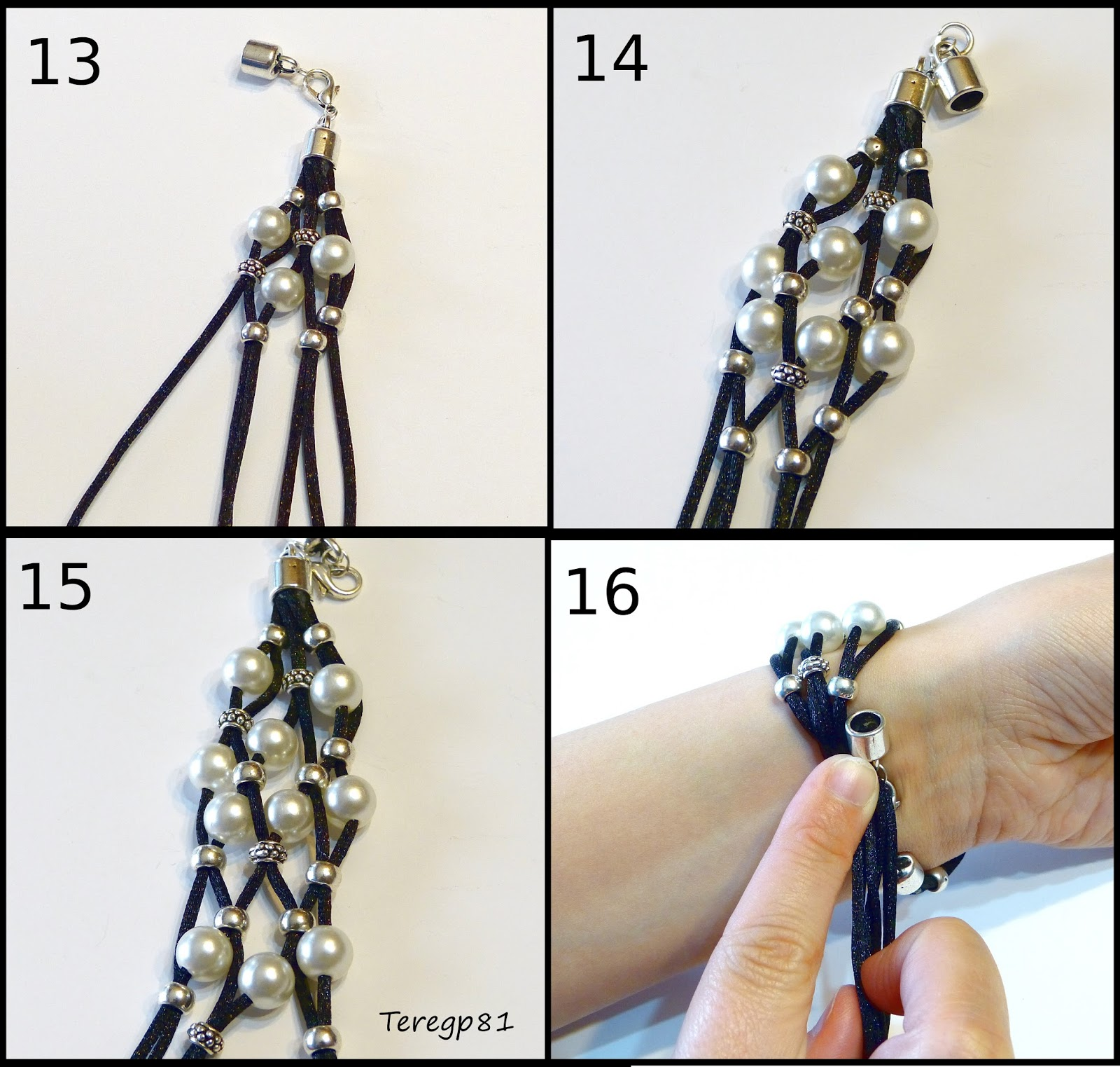 Paso 13 Vamos colocando las piezas a nuestro gusto por cada pieza metálica introduzco 2 hilos y por cada perla 1.